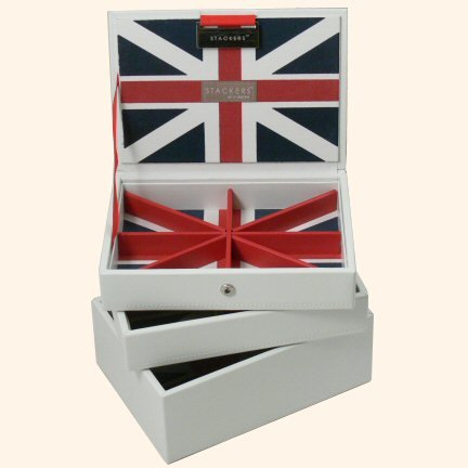 White Union Jack stacking Jewellery box set