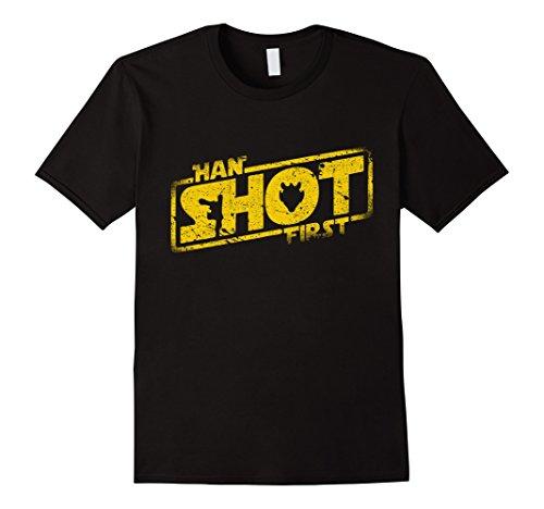 Men's Han Shot First - Vintage Look - T Shirt Large Black