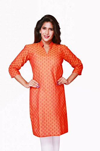 Weaves Pure Cotton Dobby Design Orange Kurti (Multicolor)