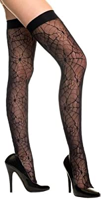 ToBeInStyle Women's Sheer Spider Web Thigh Hi Stockings
