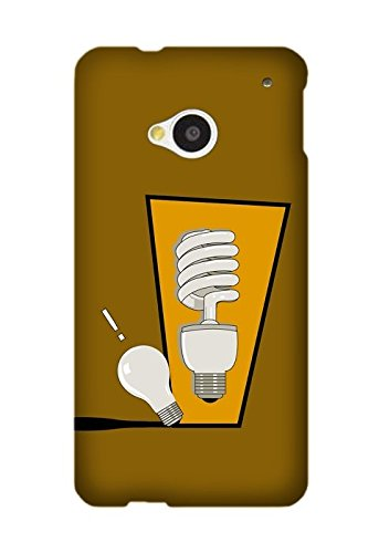 HTC One M7 Case, Light Bulb Scenery Hard TPU Smooth Design Case for HTC One M7