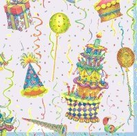 Birthday Celebration Ivory Lunch Napkins