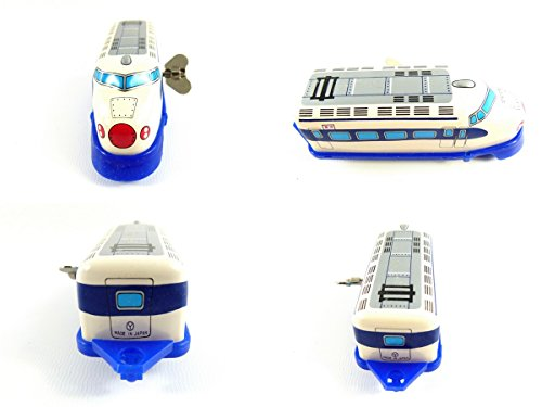 Wind up Blue Train Small Tin Toy Train from Japan