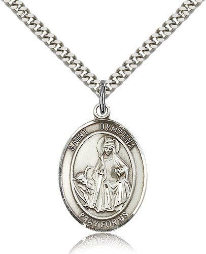"Jewelsobsession'S Sterling Silver St. Dymphna Pendant - 24"" Chain"