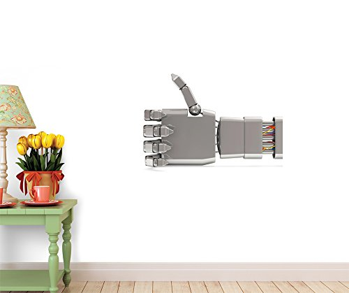 Wallmonkeys WM348340 Metal Robotic Hand Showing Thumbs up Isolated on White Peel and Stick Wall Decals from Wallmonkeys