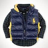 Ralph Lauren(ラルフ ローレン)ビッグポニー ベスト ダウン ジャケット (紺色・赤色)【月齢:1歳半-2歳】(並行輸入品) (24M(2歳), 紺色)