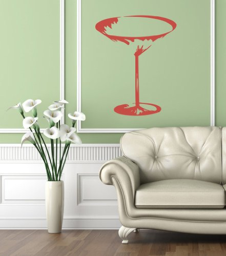 Housewares Vinyl Decal Martini Cocktail Glass Cafe Bar Home Wall Art Decor Removable Stylish Sticker Mural Unique Design For Any Room back-1064322