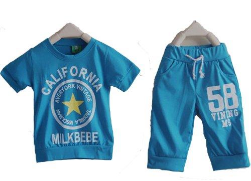 Summer Boy Children'S Clothing Set Short-Sleeved Suit T-Shirt + Shorts Bgdt-206 (2T, Blue)