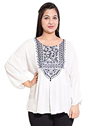 KASHANA Rayon Crepe Embroidered Mamma Plus Size Top For Women Ladies