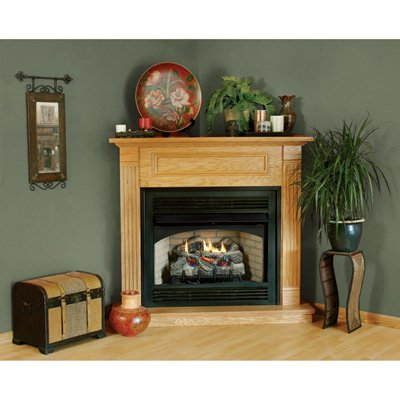 Comfort Flame C32To Traditional Design 32-Inch Fireplace Corner Mantel, Medium, Oak Stain