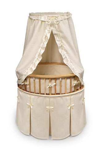 Badger Basket Elite Oval Baby Bassinet, Natural With Ecru Waffle