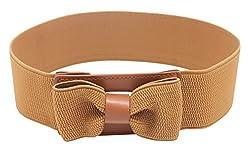 Amazingusa Women's Big Bow Chiffon Elastic Belt Brown