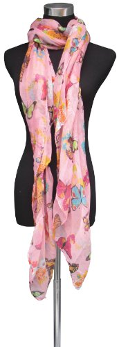 Large Pink, Butterfly and Flower Design Chiffon Scarf or Sarong