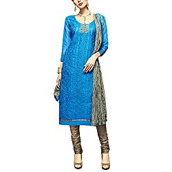 Applecreation Sky Blue Dress Material With Heavy Embroidered Matching Dupatta for Women's