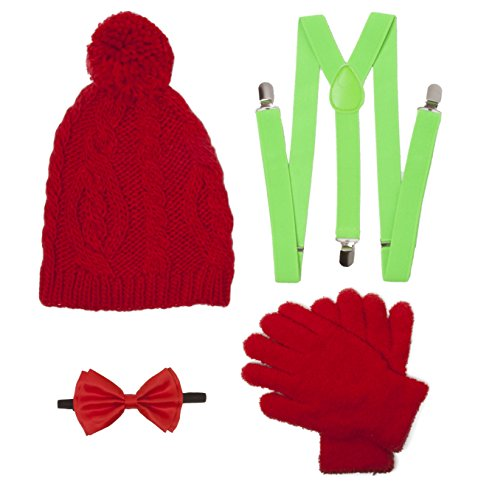 Christmas Caroling Elf Outift Kit (Pom Beanie, Suspenders, Bowtie, Gloves)
