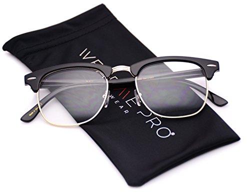 Vintage Inspired Classic Half Frame Clubmaster Horn Rimmed Clear Lens Glasses
