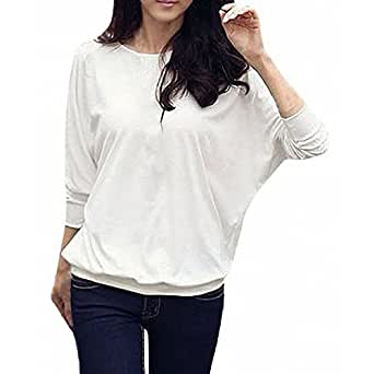 DJT Pullover Tunika T-Shirt Batwing Basic Shirt-top š€ manches longues - femme Blanc S 32-34