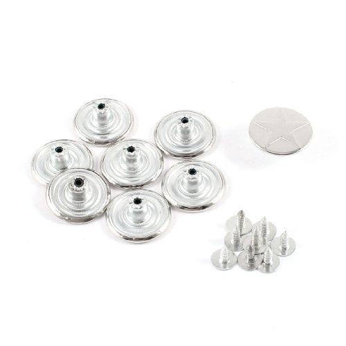 "Water & Wood Silver Tone Carved Start Decor Jeans Buttons 0.4"" High 8 Pcs"