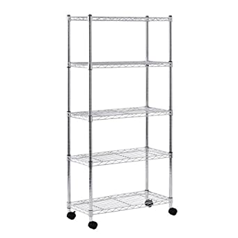sandusky mws301460 5 tier mobile wire shelving unit with 2. Black Bedroom Furniture Sets. Home Design Ideas