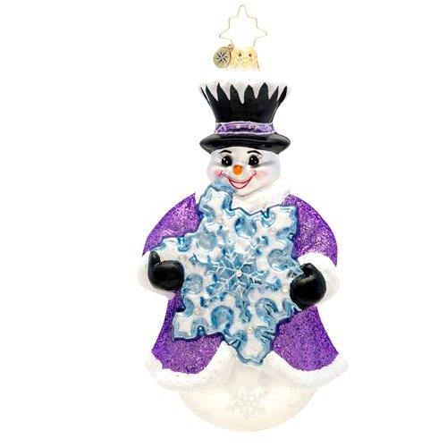 Christopher Radko Flakey Frosty Glass Christmas Ornament 2014