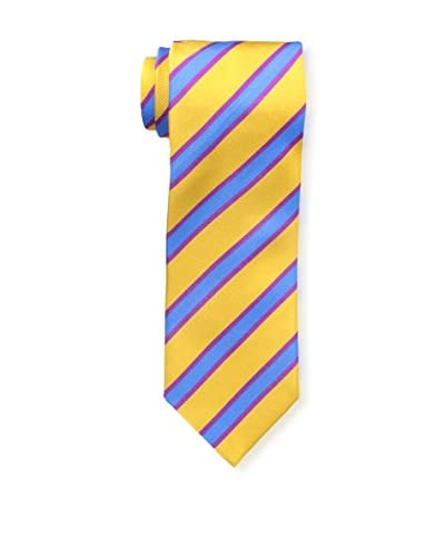 J.McLaughlin Men's Diagonal Striped Silk Tie, Gold/Blue