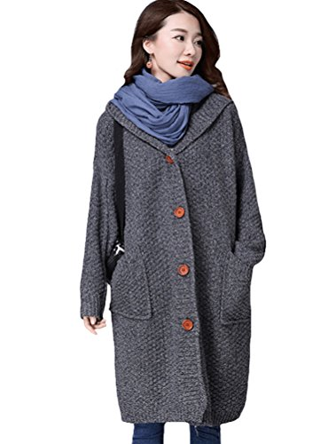 Mordenmiss Women's Winter Knitted Sweater Cardigan Coat Style 2-L-Gray