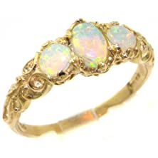 buy High Quality Solid 14K Gold Natural Very Fiery Opal English Victorian Trilogy Ring - Size 8.25 - Finger Sizes 4 To 12 Available - Suitable As An Eternity, Engagement, Promise Or Anniversary Ring