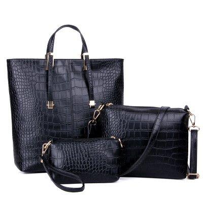 3 in 1 Borsa Shopping Bag PU Coccodrillo Pelle Donna Borsa Handbag (Nero)