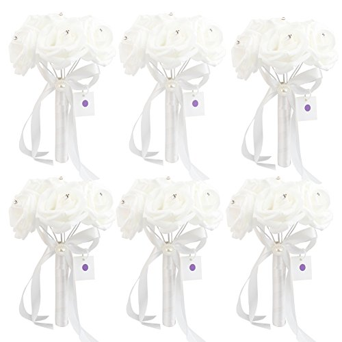 6 Bunch of Bouquet, AerWo White Foam Roses Silk Ribbon Bouquet Handmade Rhinestone Diamante Artificial Flower Bridal Bridesmaid Brooch Wedding Bouquet Decoration