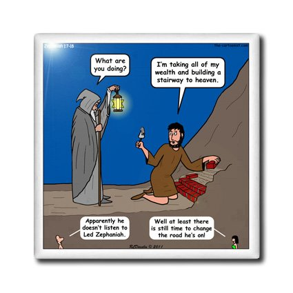 Ct_19615_2 Rich Diesslin The Cartoon Old Testament - Zephaniah 1 7 18 Battle Of Evermore Bible Stairway To Heaven Led Zeppelin - Tiles - 6 Inch Ceramic Tile