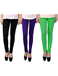 Snoogg Womens Ethnic Chic Inspired Churidar Leggings In Black, Purple And Green