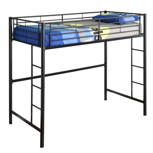 Walker Edison Sunset Metal Twin Loft/Bunk Bed, Black front-17079