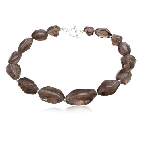 925 Sterling Silver Brown Smoky Quartz Women Fashion Necklace Jewelry 42cm Length