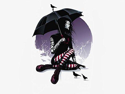 [artwork umbrella dark art black birds tattoo Home Decoration Canvas Poster Print] (Wizard Of Oz Tattoo Ideas)