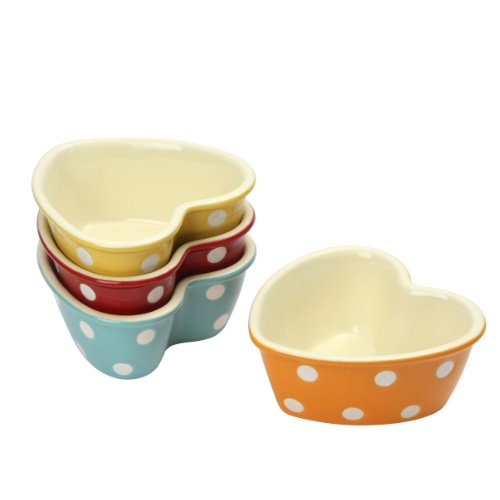 dexam-polka-dot-heart-shaped-ramekins-set-of-4-multi-colour