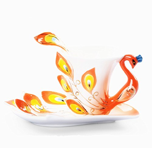 Moyishi Hand Crafted Porcelain Enamel Delicate Peacock Tea Coffee Cup Set With Saucer And Spoon Organge