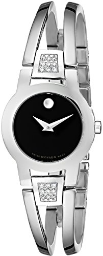 "Movado Women'S 604982 ""Amorosa"" Diamond-Accented Stainless Steel Bangle Watch"