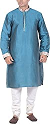 Kisah Men's Cotton Silk Kurta (KA-S-066K-42_Green_42)