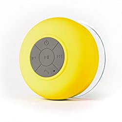 AEMA (TM) Portable Bluetooth Speaker with Suction Subwoofer Shower Waterproof Wireless Handsfree ,YELLOW