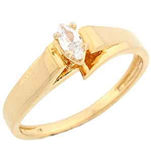 10k yellow gold marquise cz traditional