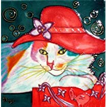 Red Hat Cat Decorative Ceramic Wall Art Tile 6x6
