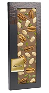 Chocome Arriba Milk Chocolate 39%, Almonds, Pecans and Pistachios From Bronte, 3.5 Ounce
