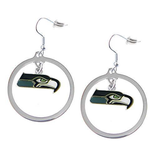 Sports-Team-Logo-Seattle-Seahawks-Charm-Hoop-Earring-Set
