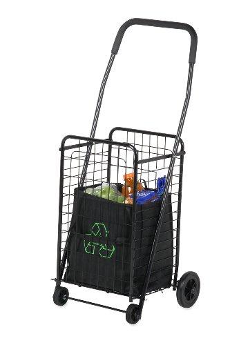 Honey-Can-Do CRT-01511 Medium Folding Shopping Cart Rolling 4-Wheel Utility Wagon, Black