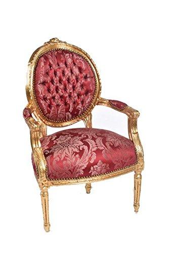 Poltrona Barocco Foglia Oro Tessuto Damasco rosso