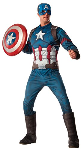Rubie's Men's Captain America: Deluxe Captain America Muscle Chest Costume and Shield, Multi, Standard (Marvel Comic Boots compare prices)