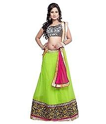 V-Art Women's Net Lehenga Saree (Green)