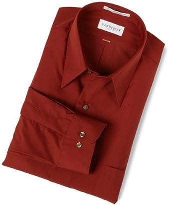 Van Heusen Men's Wrinkle Free Poplin Solid Long Sleeve Shirt,Burnt Sienna,14.5 32/33