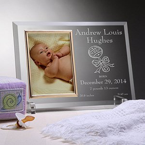 Personalized Birth Announcement Glass Baby Picture Frame front-1031988