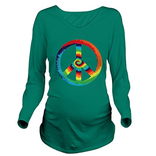 Royal Lion Long Sleeve Maternity T-Shirt Dk Tye Dye Peace Symbol - Emerald, Large (Green Tye Dye Long Sleeve Shirt compare prices)